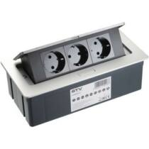 GTV Asztalba süllyeszthető elosztó, 3x230V, IP20, ezüst, SCHUKO, 1,5 m kábellel