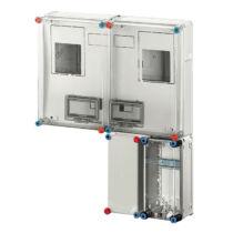 Hensel HB 33K0 FFD BASIC fogyasztásmérő szekrény 2x3 vagy 2x1 fázisú mérőkombináció, földkáb.csatlakozáshoz, beltéri és kültéri alkalmazásra 63A-ig + D9020 kábelösszekötő doboz