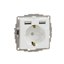 Schneider ÚJ SEDNA 2P+F csatlakozóaljzat, BZS, kettős USB töltővel, rugós, 16A/2.4A, fehér, SDD111052