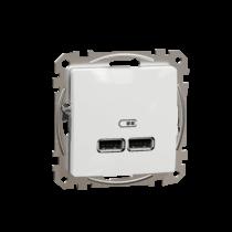 Schneider ÚJ SEDNA Dupla USB töltő, A+A, 2.1A, fehér, SDD111401