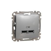 Schneider ÚJ SEDNA Dupla USB töltő, A+A, 2.1A, alumínium, SDD113401