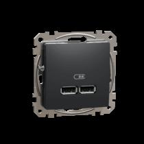 Schneider ÚJ SEDNA Dupla USB töltő, A+A, 2.1A, antracit, SDD114401