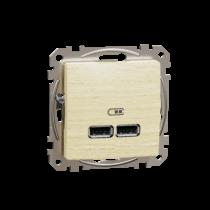 Schneider ÚJ SEDNA Dupla USB töltő, A+A, 2.1A, nyír, SDD180401