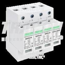 Tracon T2 AC típusú túlfeszültség levezető, cserélhető betéttel, ESPD2-40-3+1P