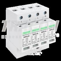 Tracon T2 AC típusú túlfeszültség levezető, cserélhető betéttel, ESPD2-40-4P