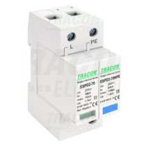 Tracon T2 AC típusú túlfeszültség levezető, cserélhető betéttel, ESPD2-70-1+1P