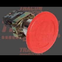 Tracon Reteszelt gombafejű vészgomb, fémalap, piros, elfordítással, NYGBS8445P