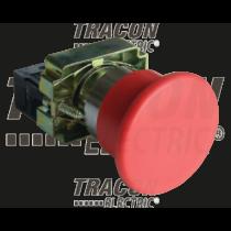 Tracon Tokozott egyszerű nyomógomb, fémalapra szerelt, piros, NYGBA42PT
