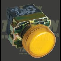 Tracon Jelzőlámpa, fémalapra szerelt, sárga, izzó nélkül, NYGBV65S