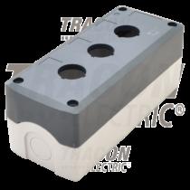 Tracon Összeállított tokozat nyomógombokhoz, szürke, 3-es, NYGD-3GR
