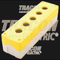 Tracon Összeállított tokozat nyomógombokhoz, sárga, 5-es, NYGD-5YE
