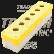 Tracon Összeállított tokozat nyomógombokhoz, sárga, 6-es, NYGD-6YE