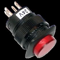 Tracon Mini jelzőlámpás nyomókapcsoló, piros, MNK-006R