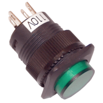 Tracon Mini jelzőlámpás nyomókapcsoló, zöld, MNK-110G