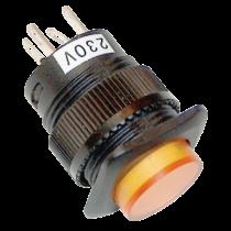 Tracon Mini jelzőlámpás nyomókapcsoló sárga, MNK-006Y