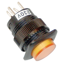 Tracon Mini jelzőlámpás nyomókapcsoló sárga, MNK-002Y
