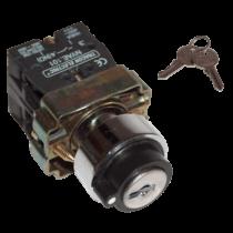 Tracon 2 állású kulcsos kapcsoló 1-2, rúgós pozicióba visszaúgró, NYBG61KK
