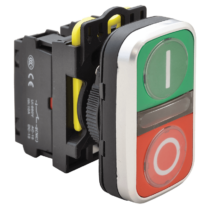 Tracon Kettős világító BE-KI nyomógomb, I-O, zöld+piros, NYG3-DL1