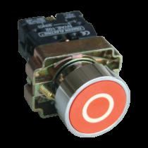 Tracon Jelölt nyomógomb, fémalapra szerelt, piros, (fehér 0), NYGBA4222P