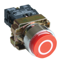 Tracon Jelölt nyomógomb, fémalapra szerelt, piros, (fehér 0), NYGBA4322P