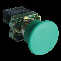Tracon Gombafejű nyomógomb, fémalapra szerelt, zöld, NYGBC31Z
