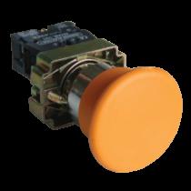 Tracon Gombafejű nyomógomb, fémalapra szerelt, sárga, NYGBC51S
