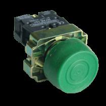 Tracon Gumiburkolatos nyomógomb, fémalapra szerelt, zöld, NYGBP31Z