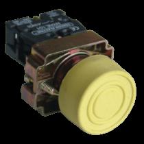 Tracon Gumiburkolatos nyomógomb, fémalapra szerelt, sárga, NYGBP51S