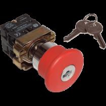 Tracon Reteszelt gombafejű vészgomb, fémalap, piros, kulcsos, NYGBS142P