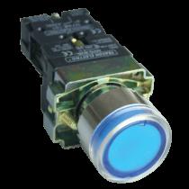 Tracon Világító nyomógomb, fémalap, kék, glim, izzó nélkül, NYGBW33K