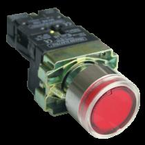 Tracon Világító nyomógomb, fémalap, piros, glim, izzó nélkül, NYGBW33P