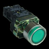 Tracon Világító nyomógomb, fémalap, zöld, glim, izzó nélkül, NYGBW33Z