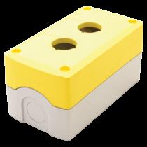 Tracon Összeállított tokozat nyomógombokhoz, sárga, 2-es, NYGD-2YE