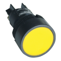 Tracon Nyomógomb, műanyag testű, sárga, NYGEA151S
