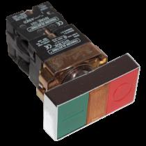 Tracon Kettős BE-KI nyomógomb, fémalap, zöld+piros jelzőfény, NYKK8365