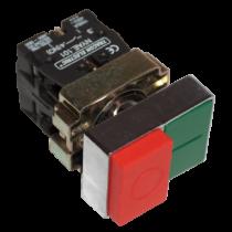 Tracon Kettős BE-KI nyomógomb, fémalap, zöld+piros kiálló, NYKK8425