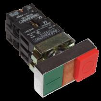 Tracon Kettős BE-KI nyomógomb, fémalap, zöld+piros jelzőfény kiálló, NYKK8465