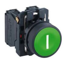 "Schneider Electric Komplett nyomógomb, zöld, ""I"" jellel [XB5AA3311]"
