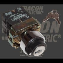Tracon Tokozott kulcsos kapcsoló, fémalap, bal KI, kétállású [NYBG25KKT]