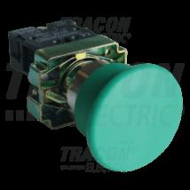 Tracon Tokozott gombafejű nyomógomb, fémalapra szerelt, zöld [NYGBC31ZT]