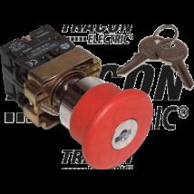 Tracon Tok.reteszelt gombafejű vészgomb, piros, sárga fed., kulcsos [NYGBS142PTS]