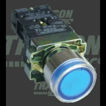 Tracon Tok. világító nyomógomb, fémalap, kék, glim, izzó nélkül [NYGBW33KT]