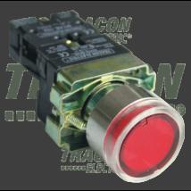 Tracon Tok. világító nyomógomb, fémalap, piros,glim, izzó nélkül [NYGBW33PT]