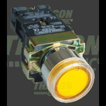 Tracon Tok. világító nyomógomb, fémalap, sárga, glim, izzó nélkül [NYGBW33ST]
