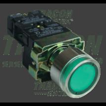 Tracon Tok. világító nyomógomb, fémalap, zöld, glim, izzó nélkül [NYGBW33ZT]