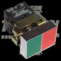 Tracon Tokozott kettős BE-KI nyomógomb, fémalap, zöld+piros [NYKK8325T]