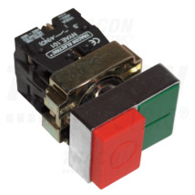 Tracon Tokozott kettős BE-KI nyomógomb, fémalap, zöld+piros kiálló [NYKK8425T]