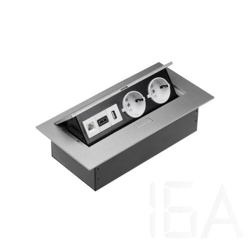 GTV Elosztó 2x230V+1xHDMI+1xUSB+1xRJ45, IP20, ezüst, asztalba süllyeszthető, SCHUKO, kábellel nélkül