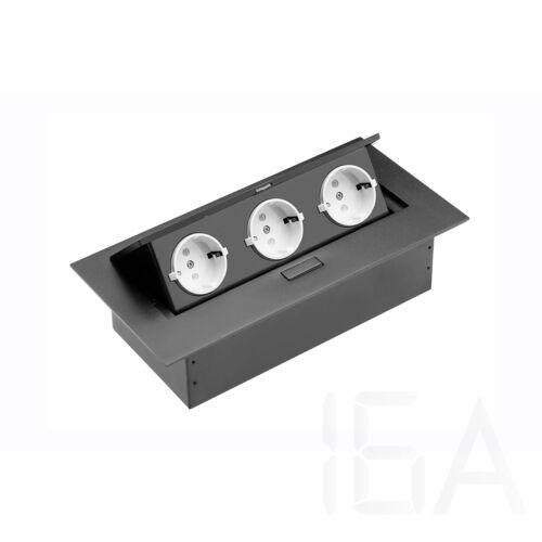 GTV Asztalba süllyeszthető elosztó, 3x230V IP20, fekete, rejtett gombbal kinyitható, SCHUKO