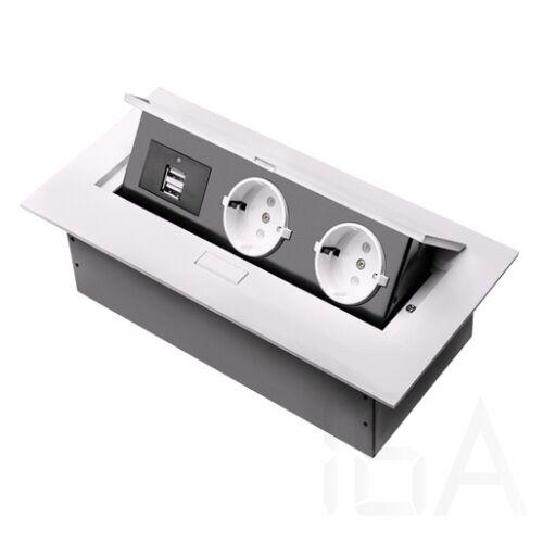 GTV Elosztó 2x230V+2×USB, FEHÉR, asztalba rejtett gombbal kinyítható, fém házas, SCHUKO